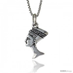 Sterling Silver Small Queen Nefertiti Pendant, 1/2 in. (12 mm) Long.