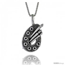 Sterling Silver Artists Pallet Pendant, 3/4 in. (19 mm) Long.