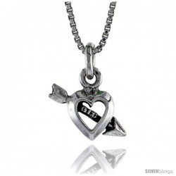 Sterling Silver Teeny Heart and Arrow Pendant, 1/4 in. (6 mm) Long.