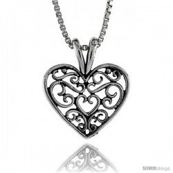 Sterling Silver Small Filigree Heart Pendant, 7/16 in. (11 mm) Long.