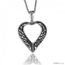 Sterling Silver Filigree Heart Pendant, 1 in. (25 mm) Long.