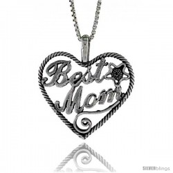 Sterling Silver Best Mom Pendant, 7/8 in. (24 mm) Long.