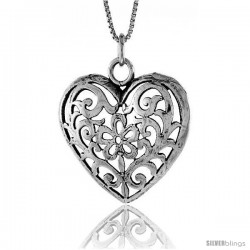 Sterling Silver Heart Pendant, 1 1/8 in. (28 mm) Long.