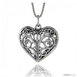 Sterling Silver Heart Pendant, 7/8 in. (22 mm) Long.