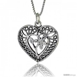 Sterling Silver Heart Pendant, 7/8 in. (22 mm) Long. -Style Po241