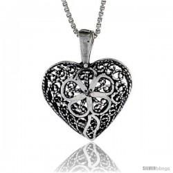 Sterling Silver Heart Pendant, 7/8 in. (22 mm) Long. -Style Po242