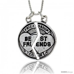 Sterling Silver Best Friend Pendant, 1 in. (25 mm) Long.