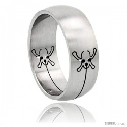 Surgical Steel Fly Ring Domed 8mm Wedding Band