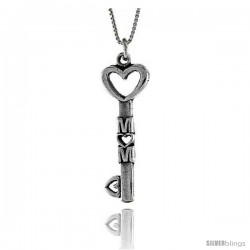 Sterling Silver Love Mom Pendant, 1 9/16 in. (40 mm) Long.