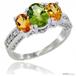 14k White Gold Ladies Oval Natural Peridot 3-Stone Ring with Citrine Sides Diamond Accent
