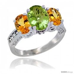 14K White Gold Ladies 3-Stone Oval Natural Peridot Ring with Citrine Sides Diamond Accent