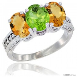 14K White Gold Natural Peridot & Citrine Sides Ring 3-Stone 7x5 mm Oval Diamond Accent