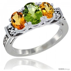 14K White Gold Natural Peridot & Citrine Ring 3-Stone Oval with Diamond Accent