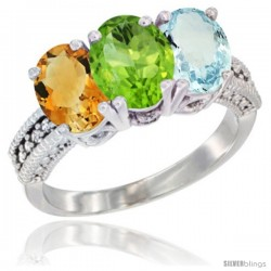 14K White Gold Natural Citrine, Peridot & Aquamarine Ring 3-Stone 7x5 mm Oval Diamond Accent