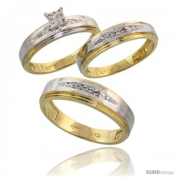 10k Yellow Gold Diamond Trio Engagement Wedding Ring 3-piece Set for Him & Her 6 mm & 5 mm wide 0.11 cttw Brilliant Cut