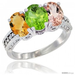 14K White Gold Natural Citrine, Peridot & Morganite Ring 3-Stone 7x5 mm Oval Diamond Accent