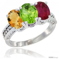 14K White Gold Natural Citrine, Peridot & Ruby Ring 3-Stone 7x5 mm Oval Diamond Accent