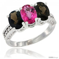10K White Gold Natural Pink Topaz & Smoky Topaz Sides Ring 3-Stone Oval 7x5 mm Diamond Accent