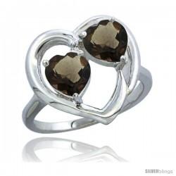 10K White Gold Heart Ring 6mm Natural Smoky Topaz & Smoky Topaz Diamond Accent