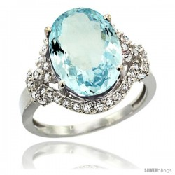 14k White Gold Natural Aquamarine Ring Oval 14x10 Diamond Halo, 3/4 in wide