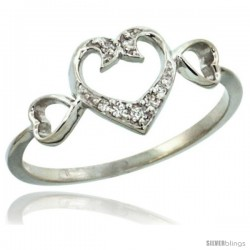 14k White Gold Triple Cut Out Heart Diamond Engagement Ring w/ 0.06 Carat Brilliant Cut Diamonds, 11/32 in. (9mm) wide