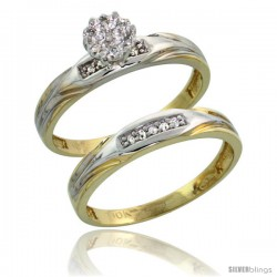 10k Yellow Gold Diamond Engagement Rings Set 2-Piece 0.09 cttw Brilliant Cut, 1/8 in wide -Style 10y014e2