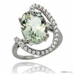14k White Gold Natural Green Amethyst Ring Oval 14x10 Diamond Accent, 3/4inch wide
