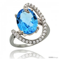 14k White Gold Natural Swiss Blue Topaz Ring Oval 14x10 Diamond Accent, 3/4inch wide