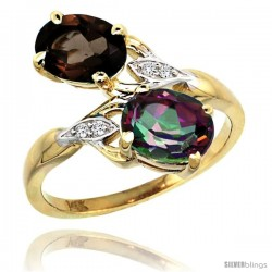 14k Gold ( 8x6 mm ) Double Stone Engagement Smoky & Mystic Topaz Ring w/ 0.04 Carat Brilliant Cut Diamonds & 2.34 Carats Oval