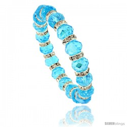 7 in. Aquamarine Color Faceted Glass Crystal Bracelet on Elastic Nylon Strand, 3/8 in. (10 mm) wide
