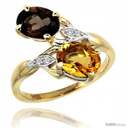 14k Gold ( 8x6 mm ) Double Stone Engagement Smoky Topaz & Citrine Ring w/ 0.04 Carat Brilliant Cut Diamonds & 2.34 Carats Oval