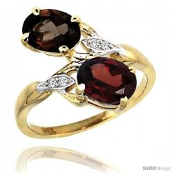 14k Gold ( 8x6 mm ) Double Stone Engagement Smoky Topaz & Garnet Ring w/ 0.04 Carat Brilliant Cut Diamonds & 2.34 Carats Oval