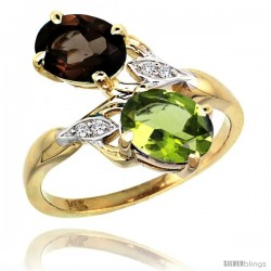 14k Gold ( 8x6 mm ) Double Stone Engagement Smoky Topaz & Peridot Ring w/ 0.04 Carat Brilliant Cut Diamonds & 2.34 Carats Oval