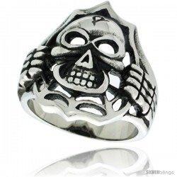 Surgical Steel Biker Skull Ring Unveiling over Spider web