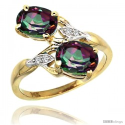 14k Gold ( 8x6 mm ) Double Stone Engagement Mystic Topaz Ring w/ 0.04 Carat Brilliant Cut Diamonds & 2.34 Carats Oval Cut