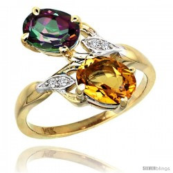 14k Gold ( 8x6 mm ) Double Stone Engagement Mystic Topaz & Citrine Ring w/ 0.04 Carat Brilliant Cut Diamonds & 2.34 Carats Oval