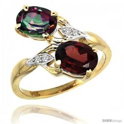 14k Gold ( 8x6 mm ) Double Stone Engagement Mystic Topaz & Garnet Ring w/ 0.04 Carat Brilliant Cut Diamonds & 2.34 Carats Oval