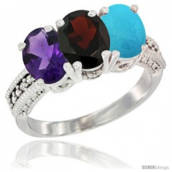 14K White Gold Natural Amethyst, Garnet & Turquoise Ring 3-Stone 7x5 mm Oval Diamond Accent