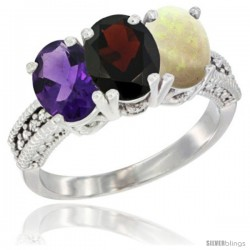 14K White Gold Natural Amethyst, Garnet & Opal Ring 3-Stone 7x5 mm Oval Diamond Accent