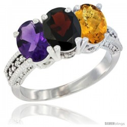 14K White Gold Natural Amethyst, Garnet & Whisky Quartz Ring 3-Stone 7x5 mm Oval Diamond Accent