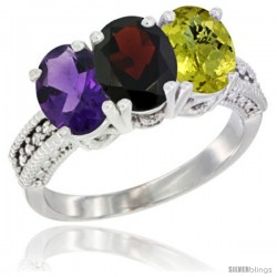 14K White Gold Natural Amethyst, Garnet & Lemon Quartz Ring 3-Stone 7x5 mm Oval Diamond Accent