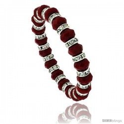 7 in. Ruby Color Faceted Glass Crystal Bracelet on Elastic Nylon Strand, 3/8 in. (10 mm) wide