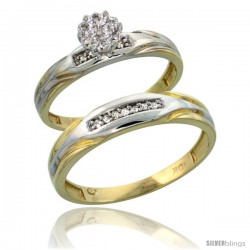 10k Yellow Gold Diamond Engagement Rings 2-Piece Set for Men and Women 0.10 cttw Brilliant Cut, 3.5mm & 4.5mm wide