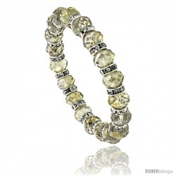 7 in. Silver Shadow Color Faceted Glass Crystal Bracelet on Elastic Nylon Strand, 3/8 in. (10 mm) wide
