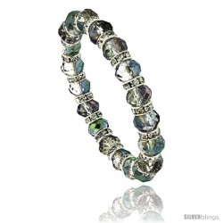 7 in. Faceted Glass Volcano Crystal Bracelet on Elastic Nylon Strand, 3/8 in. (10 mm) wide