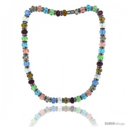 18 in. Multi Color Faceted Glass Crystal Necklace on Elastic Nylon Strand ( Clear, Garnet, Citrine, Blue Topaz, Smoky Topaz
