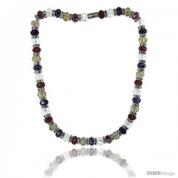 18 in. Multi Color Faceted Glass Crystal Necklace on Elastic Nylon Strand ( Clear, Garnet, Smoky Topaz & Amethyst Color ), 3/8