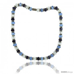 18 in Multi Color Faceted Glass Crystal Necklace on Elastic Nylon Strand ( Clear, Blue Topaz & Amethyst Color ), 3/8 in