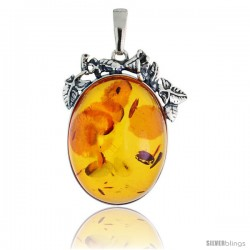 "Sterling Silver Floral Russian Baltic Amber Pendant w/ 38x28mm Oval-shaped Cabochon Cut Stone, 1 3/4"" (45 mm) tall"