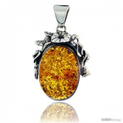 """Sterling Silver Floral Russian Baltic Amber Pendant w/ 30x20mm Oval-shaped Cabochon Cut Stone, 1 11/16"""" (44 mm) tall"""